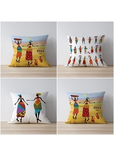 Tezkotekstil Etnik Afrika 4'Lü Kombin Dekoratif Yastık Kırlent Kılıfı Renkli